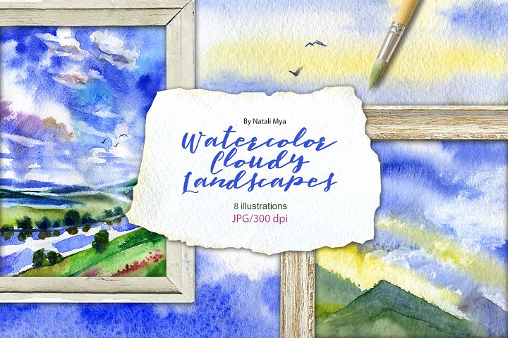 8 watercolor cloudy landscapes