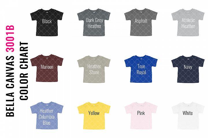 Bella Canvas 3001B Tshirt Mockup Color Chart