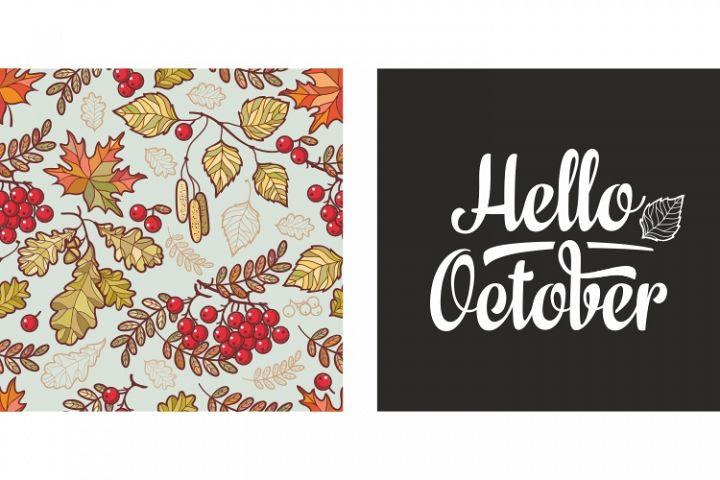 Autumn leaves. Rowan, maple, birch and oak. Fall leaf design