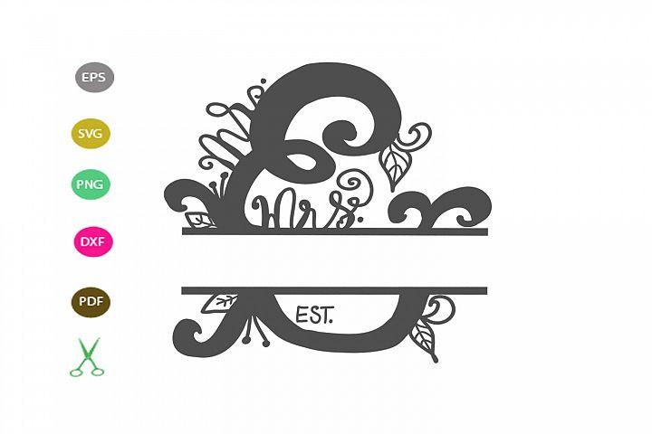 Mr. & mrs. Monogram Frame SVG cut file, Mr and Mrs for craft