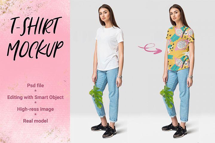 Female T-shirt Mockup example