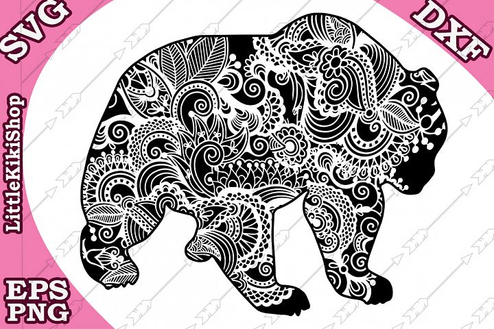 Bear svg,Zentangle Bear Svg,MANDALA BEAR SVG, Zentangle anim