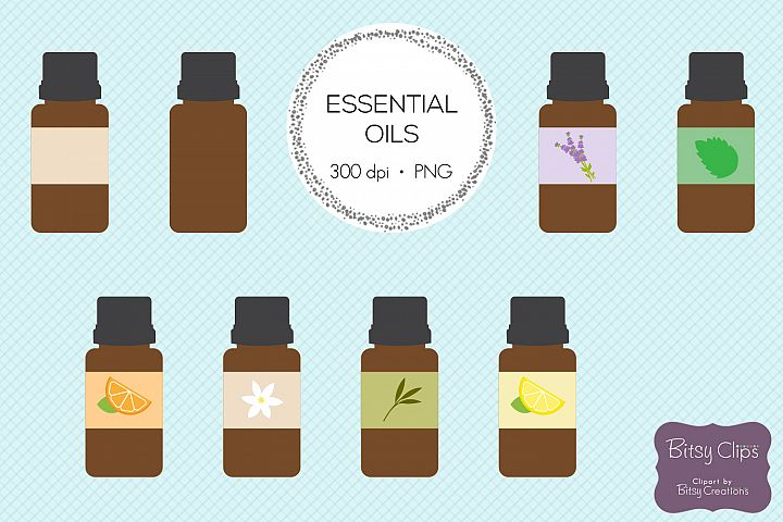 Essential Oil Clipart Digital Art Set - Direct Sales Clipart - Aromatherapy - Natural