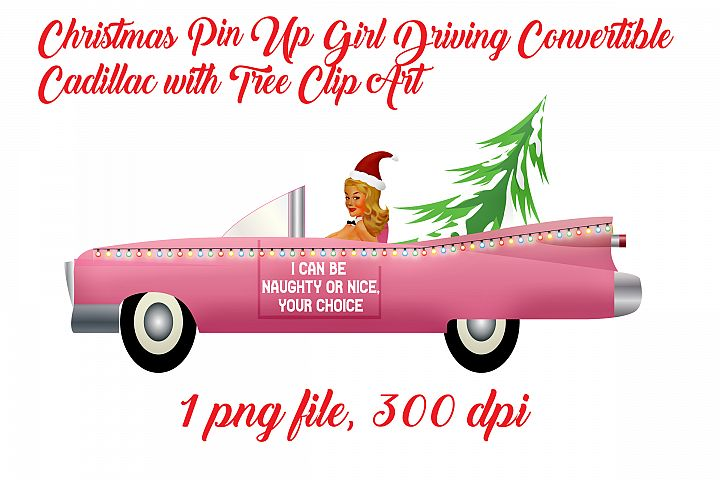 Christmas Pin Up Girl Driving Convertible with Tree ClipArt