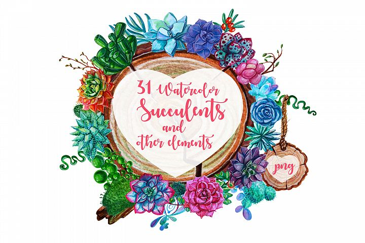 Watercolor Succulent Plants and other elements