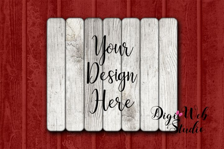 Wood Sign Mockup - Pallet Wood Sign on Red Barn Wood
