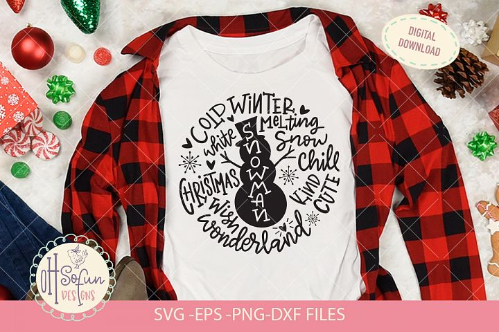 Snowman typography, SVG file, Christmas doodle