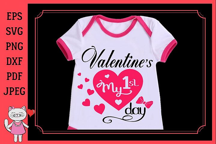 Baby Girl 1st Valentine Day Outfit Girl svg