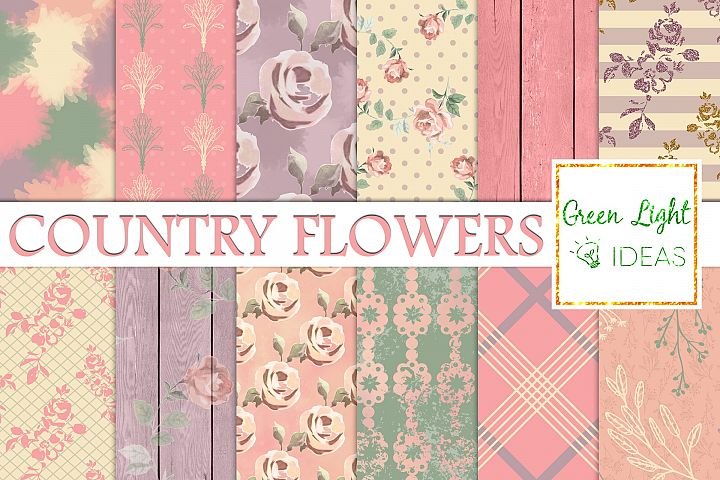 Shabby Country Flowers Digital Papers, Floral Backgrounds