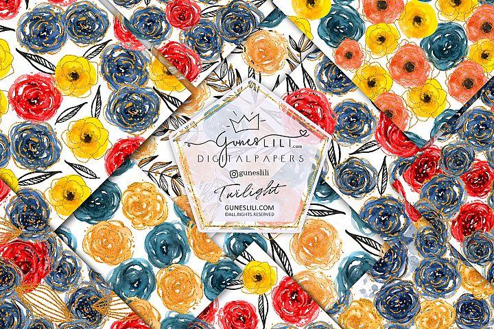 Watercolor Floral Digital Paper Flowers Seamless Pattern
