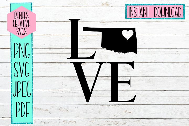Oklahoma love with heart | State SVG | SVG Cutting file