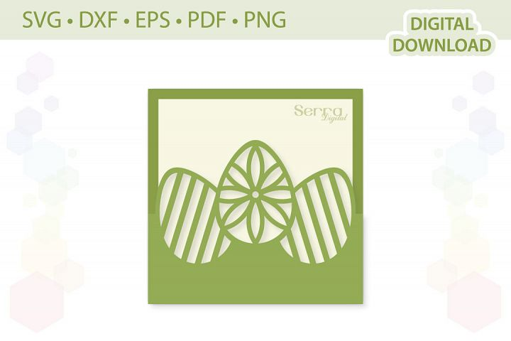 Easter Eggs Greeting Card cut file SVG DXF EPS PDF PNG