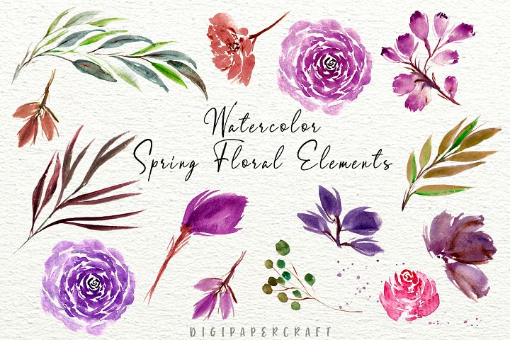 Spring Watercolor Flowers Clipart- Floral Wedding Templates