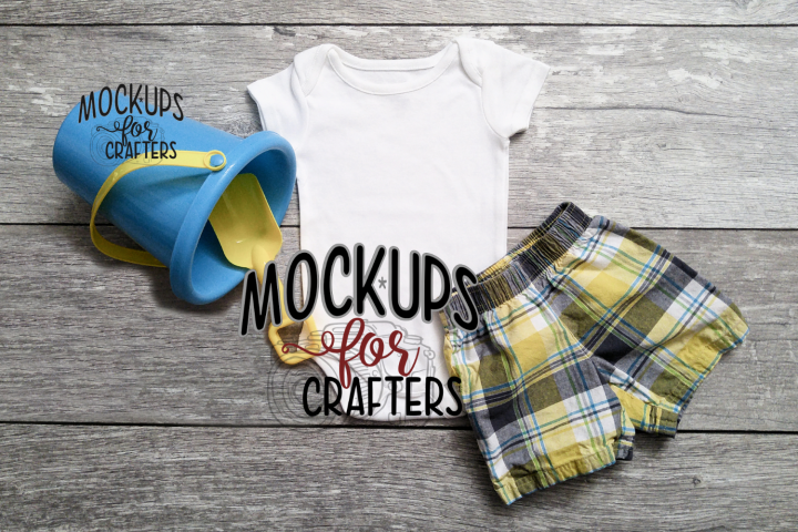 MOCK-UP Baby bodysuit - Dollar Store pail & shovel