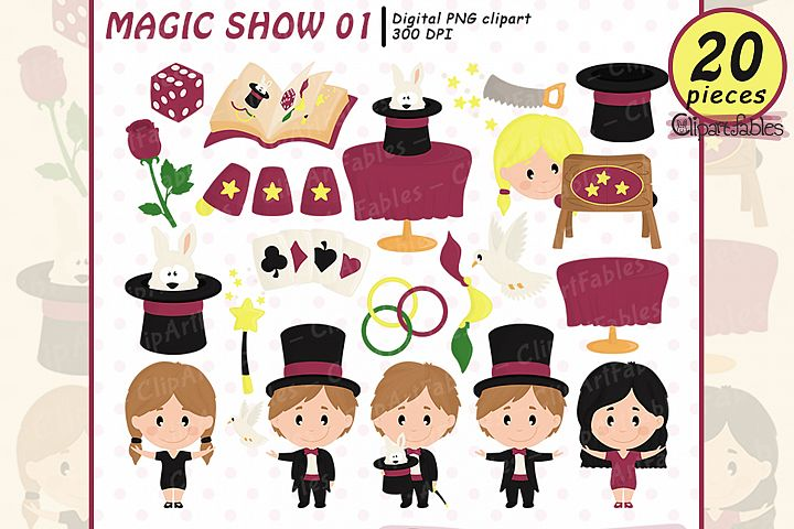 Cute MAGICIAN clipart, Magic birthday party - INSTANT