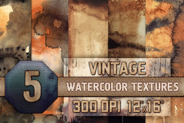 5 Vintage Watercolor Texture Digital Papers, Backrgounds HQ