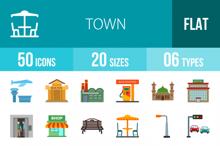 50 Town Flat Multicolor Icons