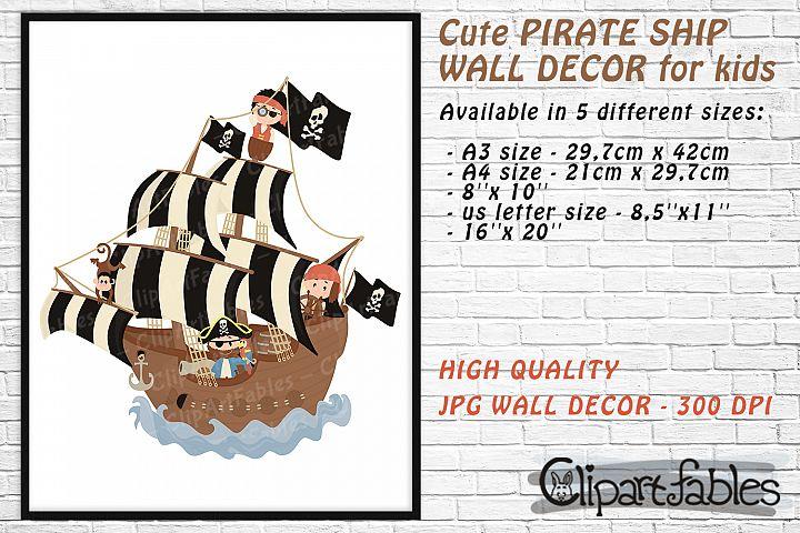 Cute PIRATE SHIP, Pirates, Black flag wall decor for kids