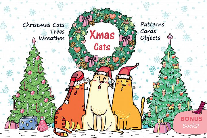 Xmas Cats clip-art, patterns, cards