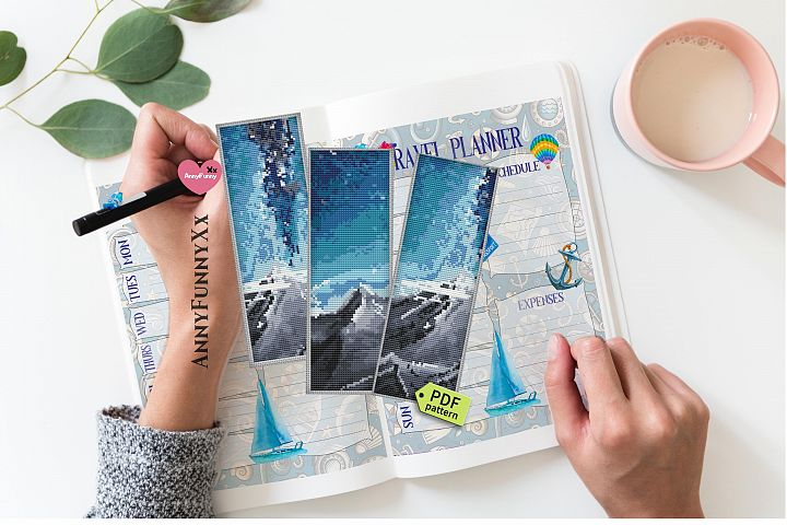 Landscape cross stitch pattern Bookmark starry night