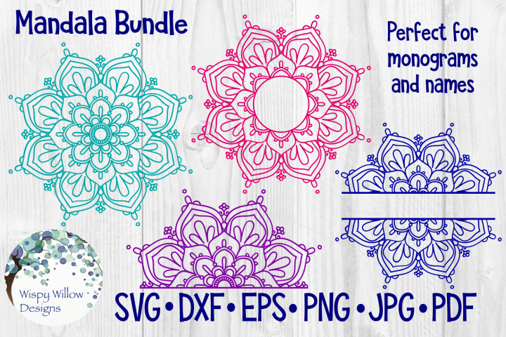Mandala Bundle SVG Bundle | Monogram Mandala | Half Mandala - Free Design of The Week Font