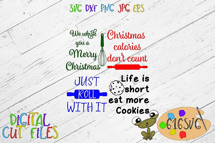 Christmas Potholder 4 designs SVG, DXF, JPG, PNG, AI, EPS