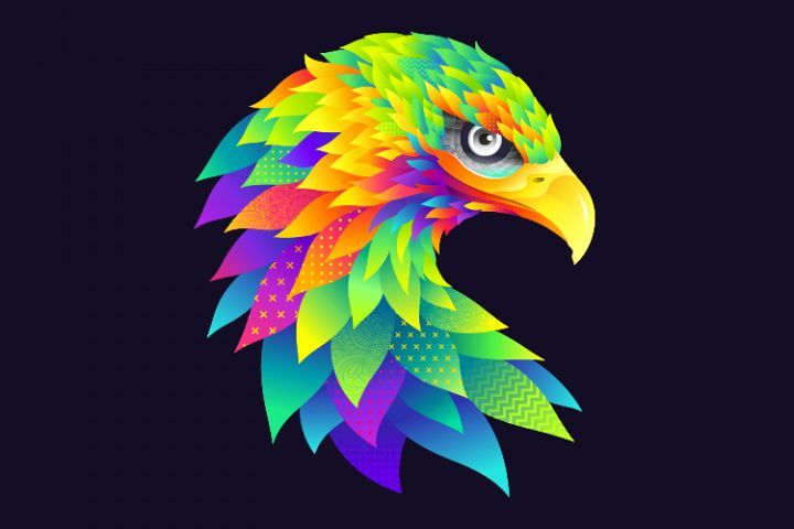 Modern graphic colorful eagle illustration