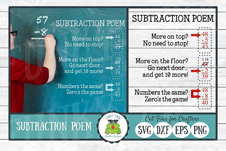 Subtraction Poem SVG Cut File, PNG Printable