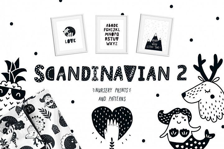 Scandinavian 2 clipart and Nursery prints