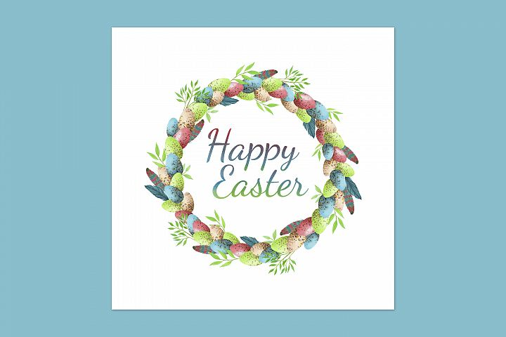 Easter greeting card with rainbow easter eggs wreath