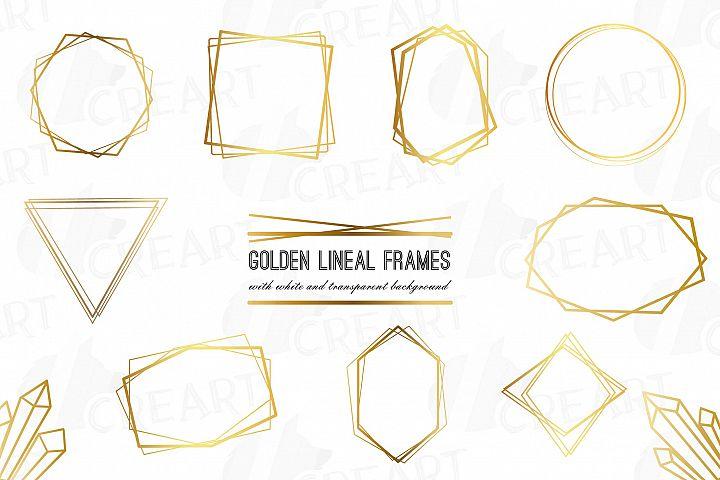 Elegant wedding geometric golden frames, lineal frames png