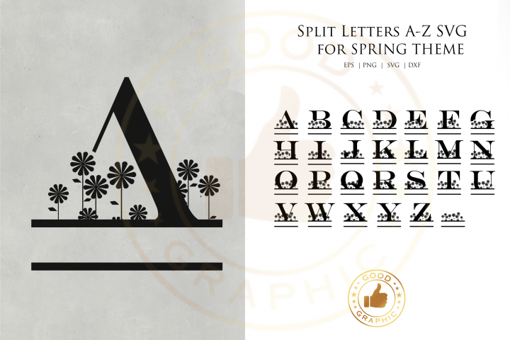 Split Letters A-Z SVG for spring theme