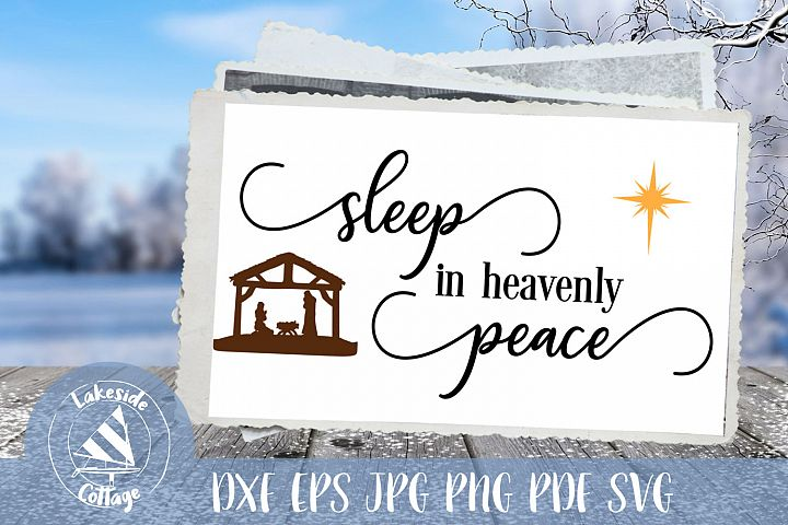 Sleep in heavenly Peace script - religious christmas svg
