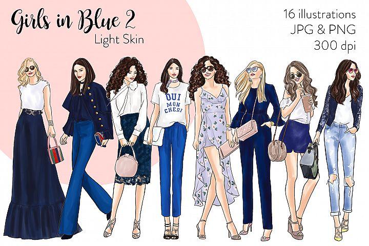 Fashion illustration clipart - Girls in Blue 2 - Light Skin