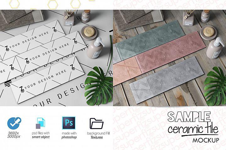 Sample Parquet Ceramic Tile Mockup PSD SM91R