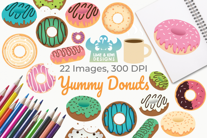 Yummy Donuts Clipart, Instant Download Vector Art