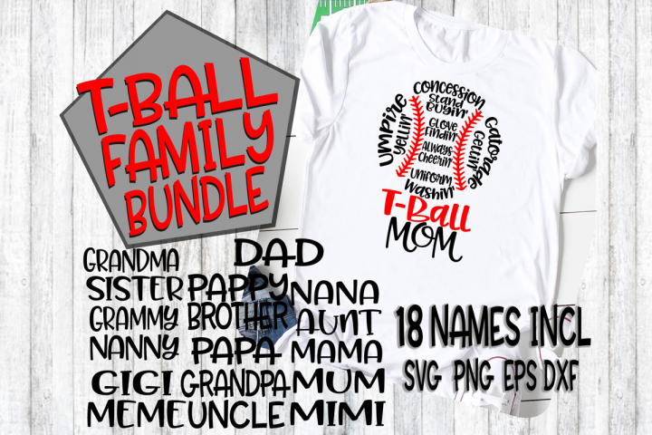 T-Ball Family Bundle - SVG - DXF - EPS - PNG - 18 Names