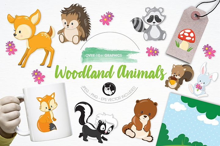 Woodland Animals graphics and illustrations