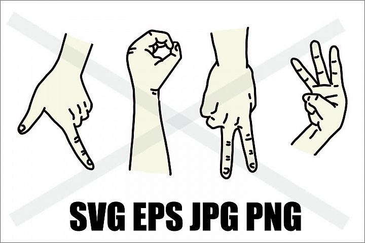 Hand Sign Langauge of Love - SVG-EPS-JPG-PNG