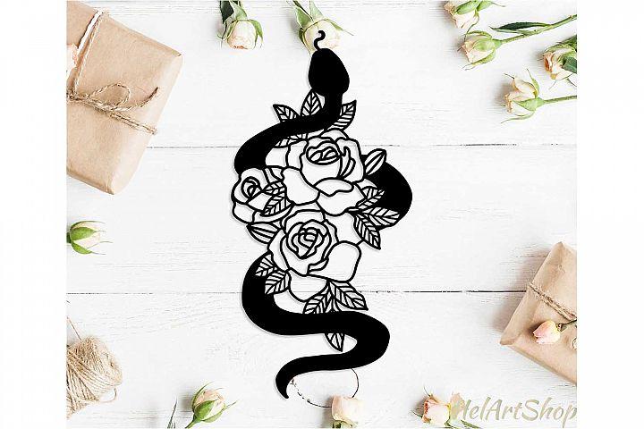 Snake among flowers svg design