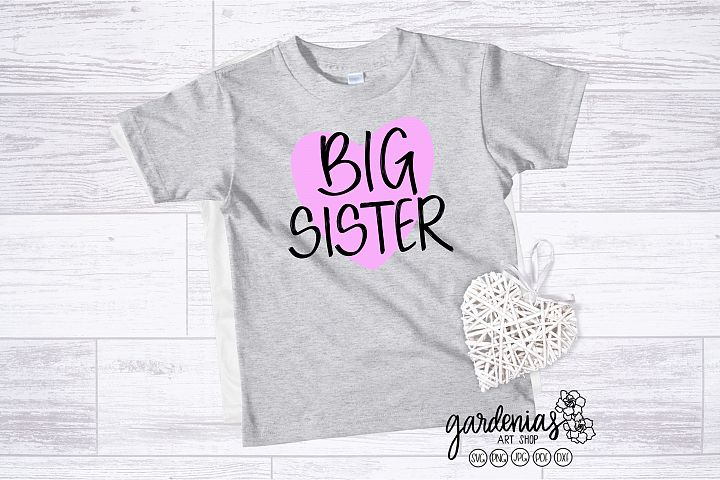 Big Sister with Heart SVG | Pregnancy Announcement Clip Art