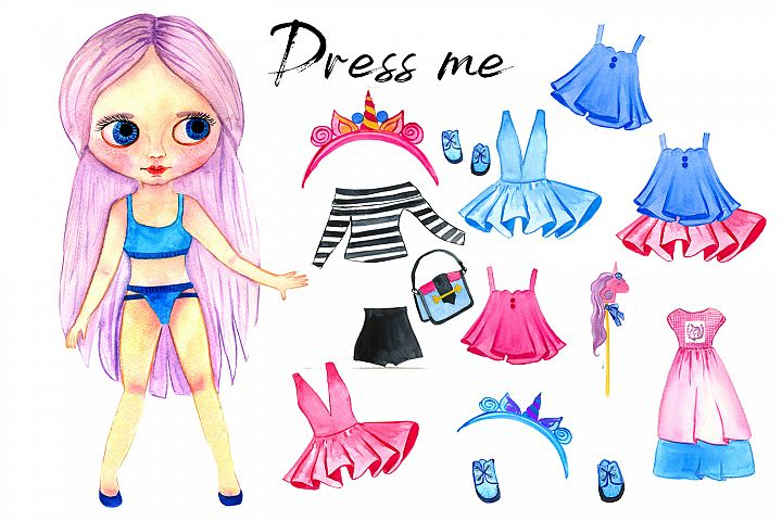 Pink paper doll with clothes for change