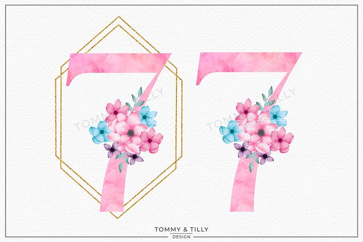 Seven Pink Bouquet Birthday Number - Sublimation PNG Clipart