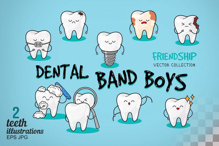 Happy teeth icons set. Dental print