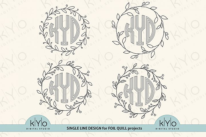 Foil Quill Single Line Wreath monogram frame bundle