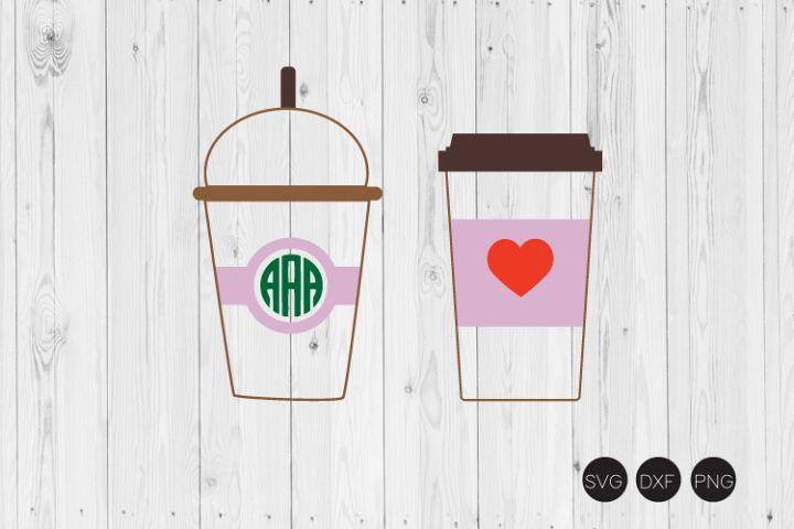 Coffee Cup Monogram SVG, Frappe Cup SVG