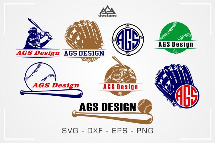 Baseball Sport Split Monogram Frame Svg Design