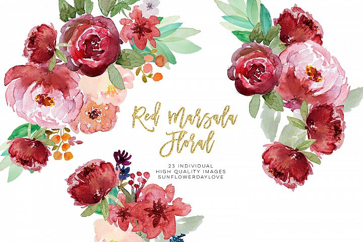 Red marsala floral watercolor clipart