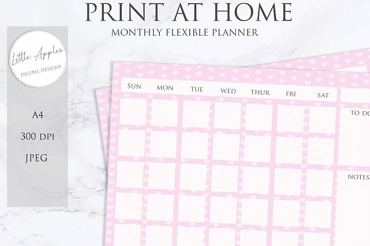 Printable Flexible Monthly Wall Planner Calendar. pink