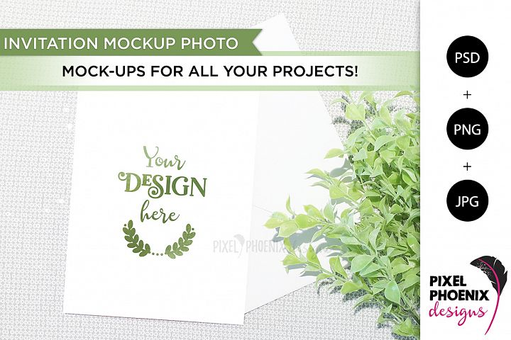 Invite Mockup with greenery